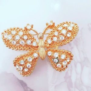 Gold Tone Vintage Butterfly Pin Brooch